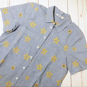 MADEWELL Star Embroidered Stripe Shirt Button Down